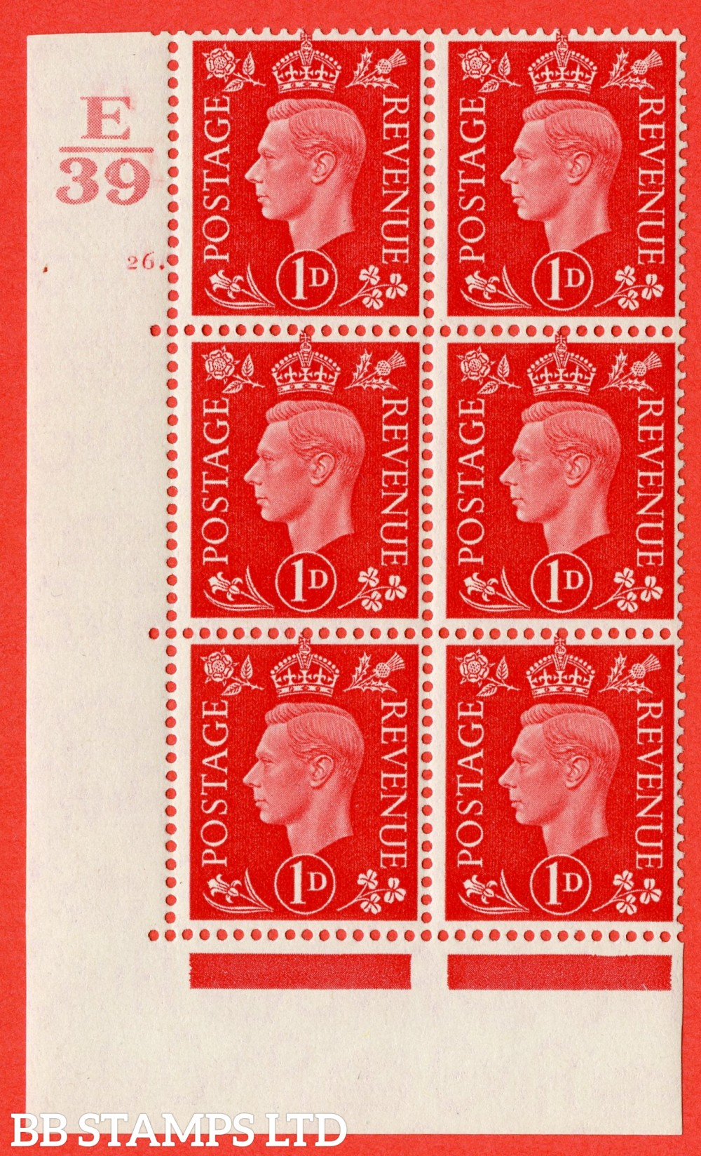 "SG. 463. Q4. 1d Scarlet. A superb UNMOUNTED MINT "" Control E39 cylinder 26 dot "" block of 6 with perf type 5 E/I."