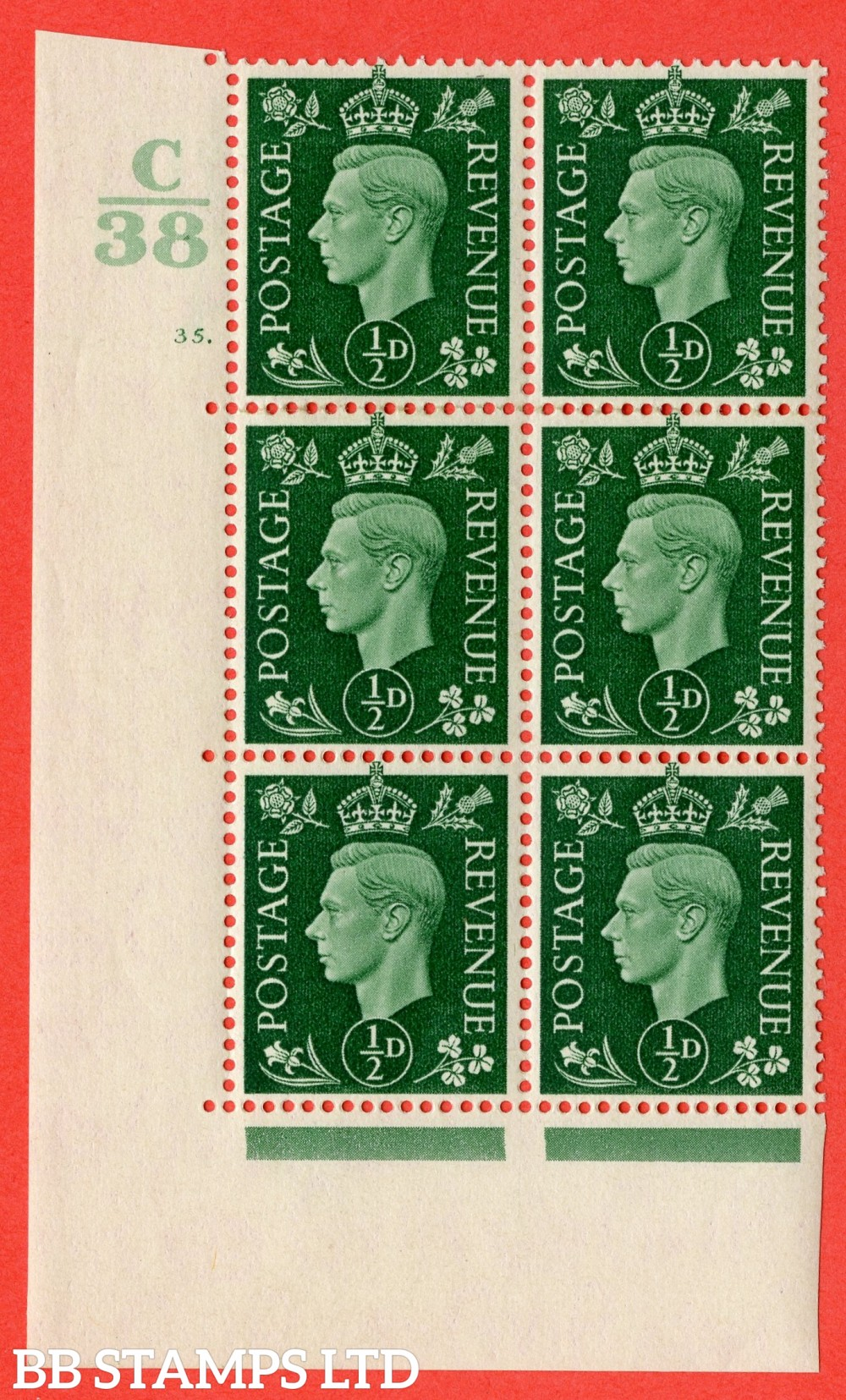 "SG. 462. Q1. ½d Green. A superb UNMOUNTED MINT "" Control C38 cylinder 35 dot "" block of 6 with perf type 5 E/I."