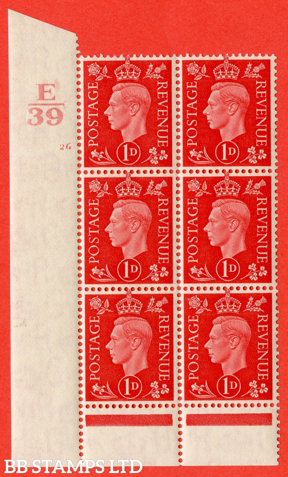 "SG. 463. Q4. 1d Scarlet. A superb UNMOUNTED MINT"" Control E39 cylinder 26 no dot "" block of 6 with perf type 6 I/P."