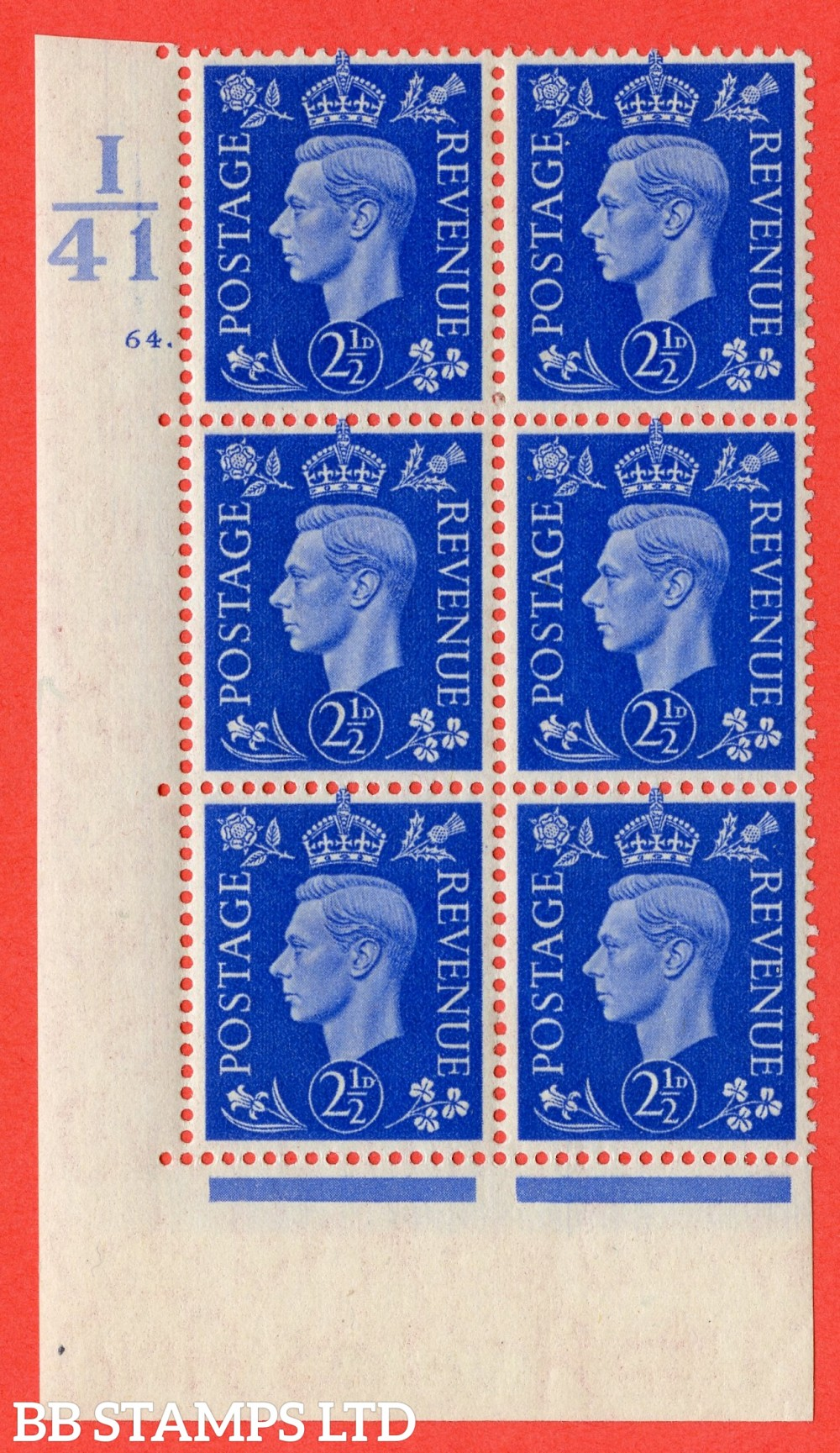 """SG. 466. d. Q13. 2½d Ultramarine.  A fine lightly mounted mint """" Control I41 cylinder 64 dot """" control block of 6 with perf type 5 E/I."""