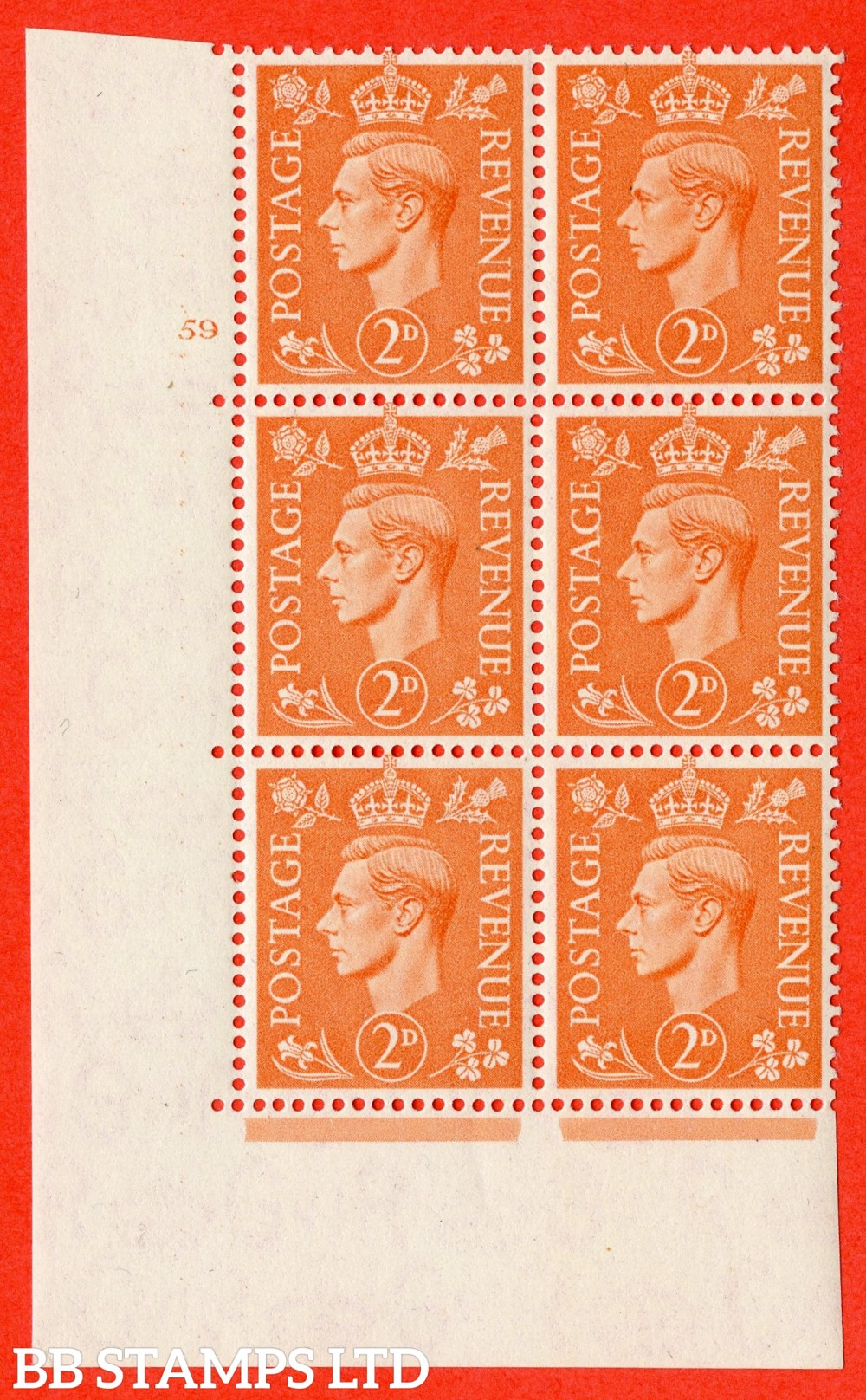 "SG. 488. Q11. 2d Pale Orange. A superb UNMOUNTED MINT "" No Control cylinder 59 no dot "" control block of 6 with perf type 5 E/I"