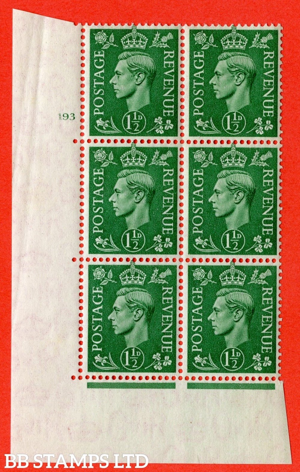 "SG. 505. Q9. 1½d Pale Green. A superb UNMOUNTED MINT "" No Control cylinder 193 no dot "" control block of 6 with perf type 5 E/I"