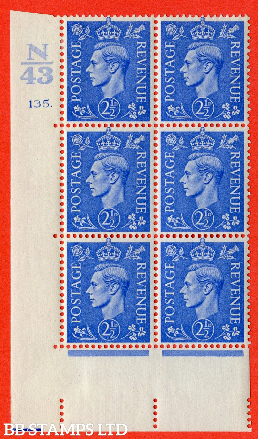 "SG. 489. Q14. 2½d Light ultramarine. A fine mounted mint "" Control N43 cylinder 135 dot "" control block of 6 with perf type 5 E/I."
