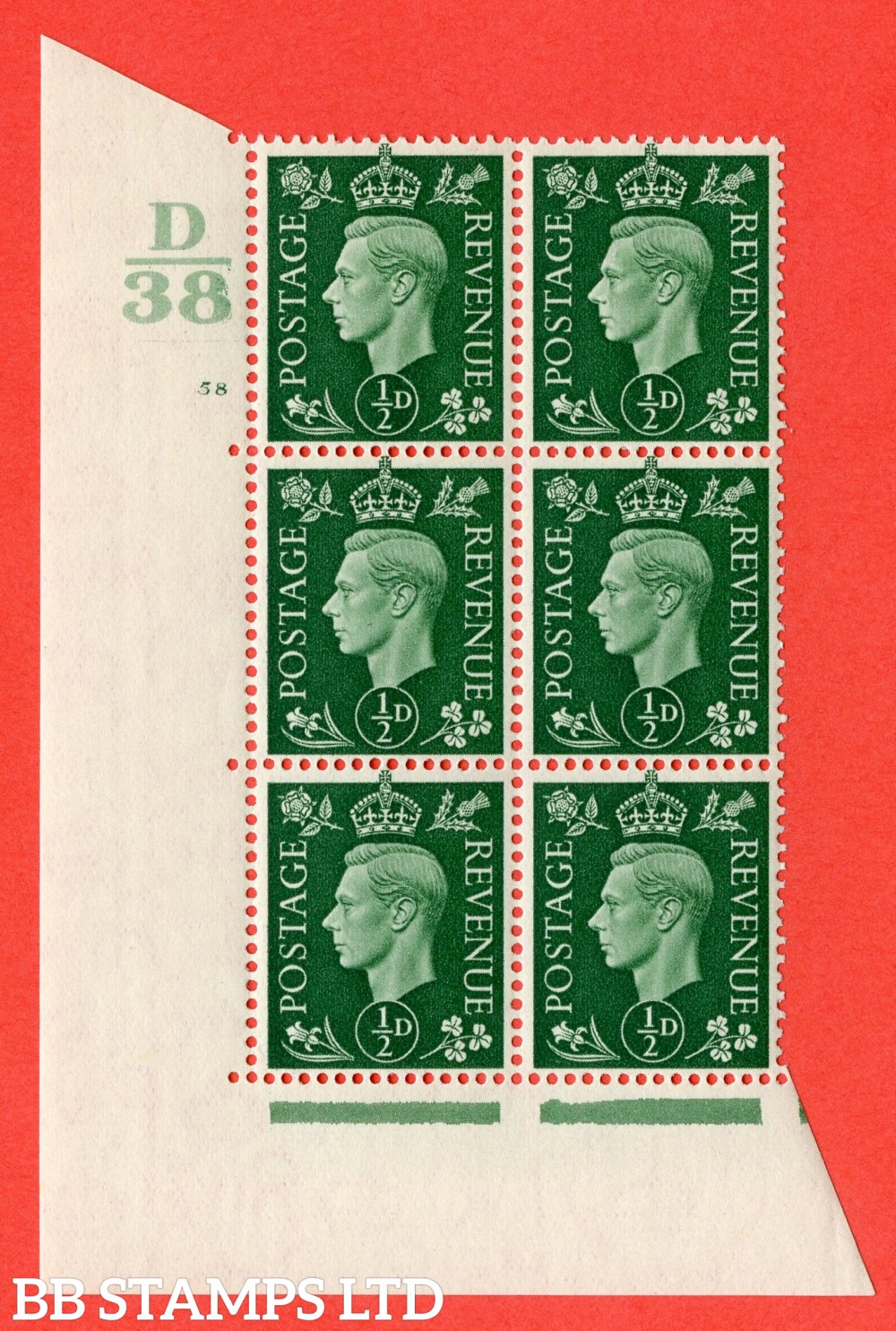 "SG. 462. Q1. ½d Green. A superb UNMOUNTED MINT "" Control D38 cylinder 58 no dot "" block of 6 with perf type 5 E/I with marginal rule."