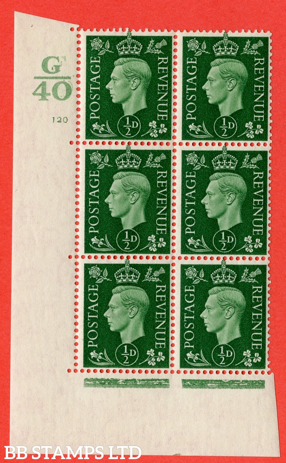 "SG. 462. Q1. ½d Green. A superb UNMOUNTED MINT "" Control G40 cylinder 120 no dot "" block of 6 with perf type 5 E/I with marginal rule."
