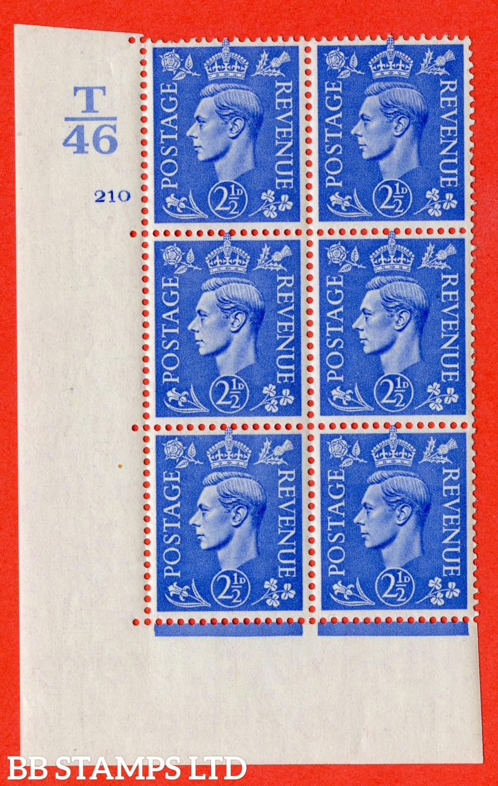 "SG. 489. Q14. 2½d Light ultramarine. A superb UNMOUNTED MINT "" Control T46 cylinder 210 no dot "" control block of 6 with perf type 5 E/I."