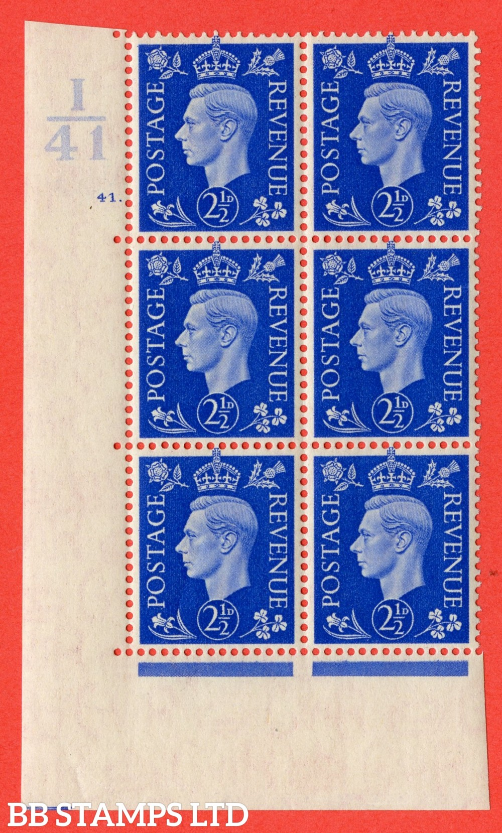 "SG. 466. Q13. 2½d Ultramarine. A fine lightly mounted mint "" Control I41 cylinder 41 dot "" control block of 6 with perf type 5 E/I."