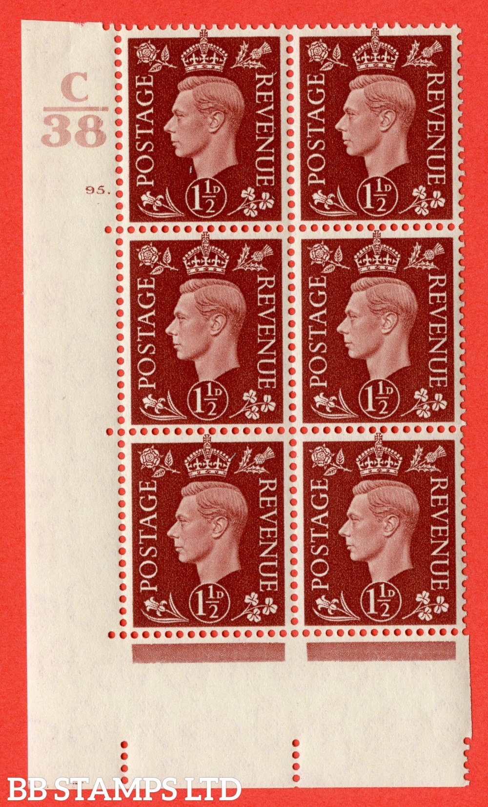 """SG. 464. Q7. 1½d Red-Brown. A fine lightly mounted mint """" Control C38 cylinder 95 dot """" block of 6 with perf type 5 E/I."""