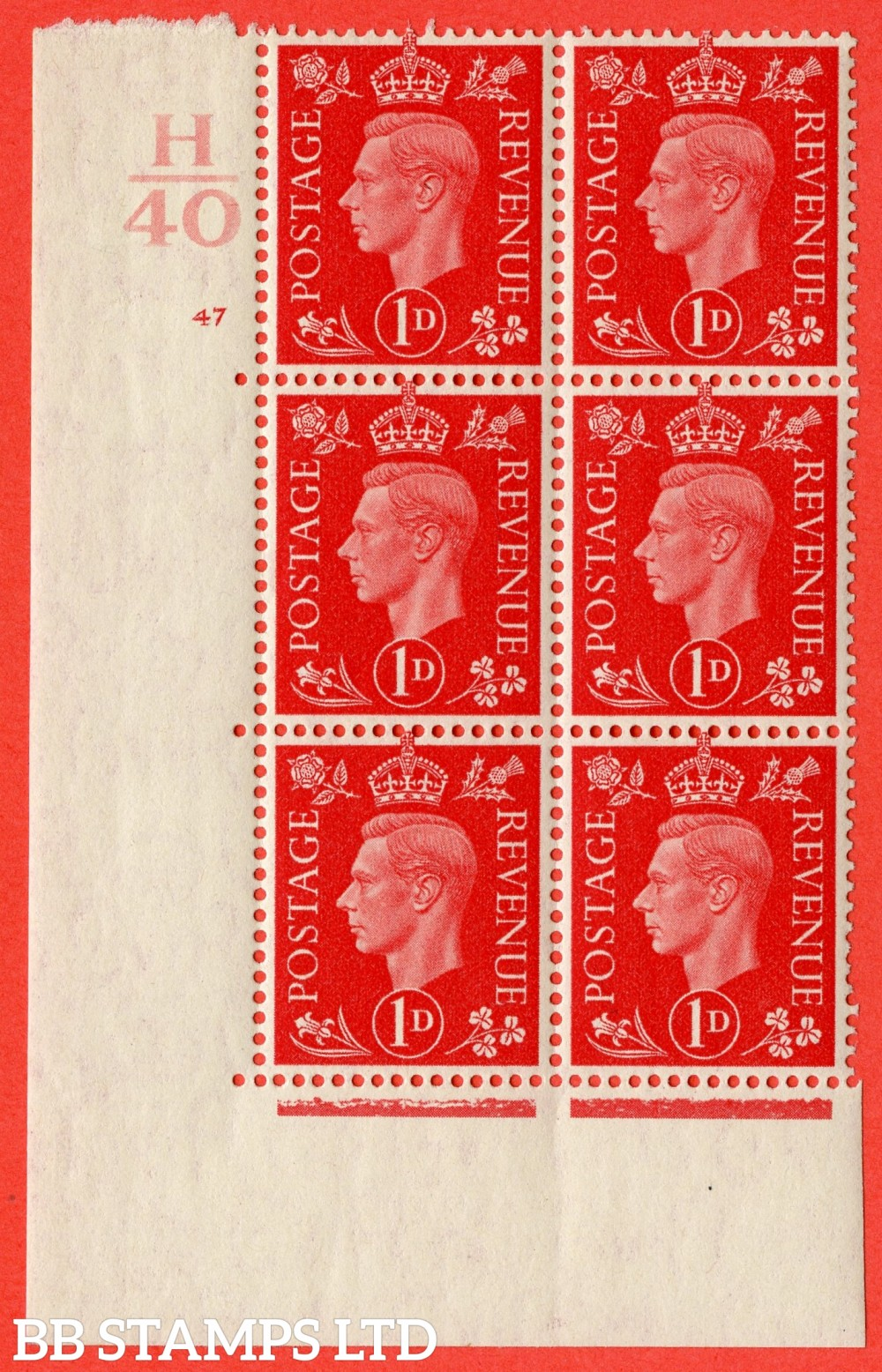 "SG. 463. Q4. 1d Scarlet. A superb UNMOUNTED MINT "" Control H40 cylinder 47 no dot "" block of 6 with perf type 5 E/I with marginal rule."