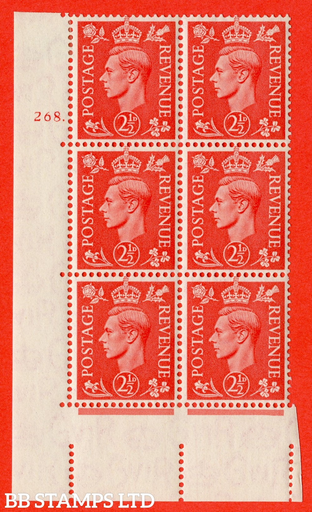"SG. 507. Q15. 2½d Pale Scarlet. A fine lightly mounted mint "" No Control cylinder 268 dot "" control block of 6 with perf type 5 E/I."
