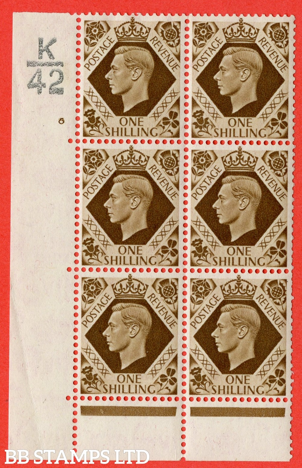 "SG. 475. Q28. 1/- Bistre-Brown. A fine lightly mounted mint "" Control  K42 cylinder 6 no dot "" control block of 6 with perf type 6B E/P."