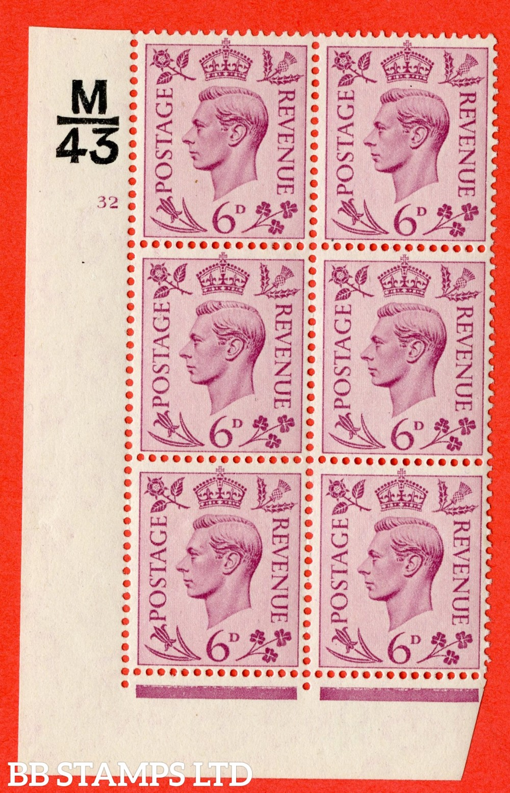 """SG. 470. Q22. 6d Purple. A fine lightly mounted mint """" Control M43 cylinder 32 no dot """" control block of 6 with perf type 2 E/I"""