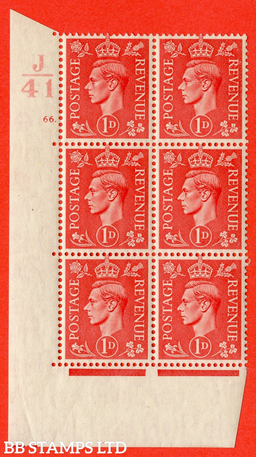 """SG. 486. Q5. 1d Pale scarlet. A superb UNMOUNTED MINT """" Control J41  cylinder 66 dot """" control block of 6 with perf type 5 E/I."""