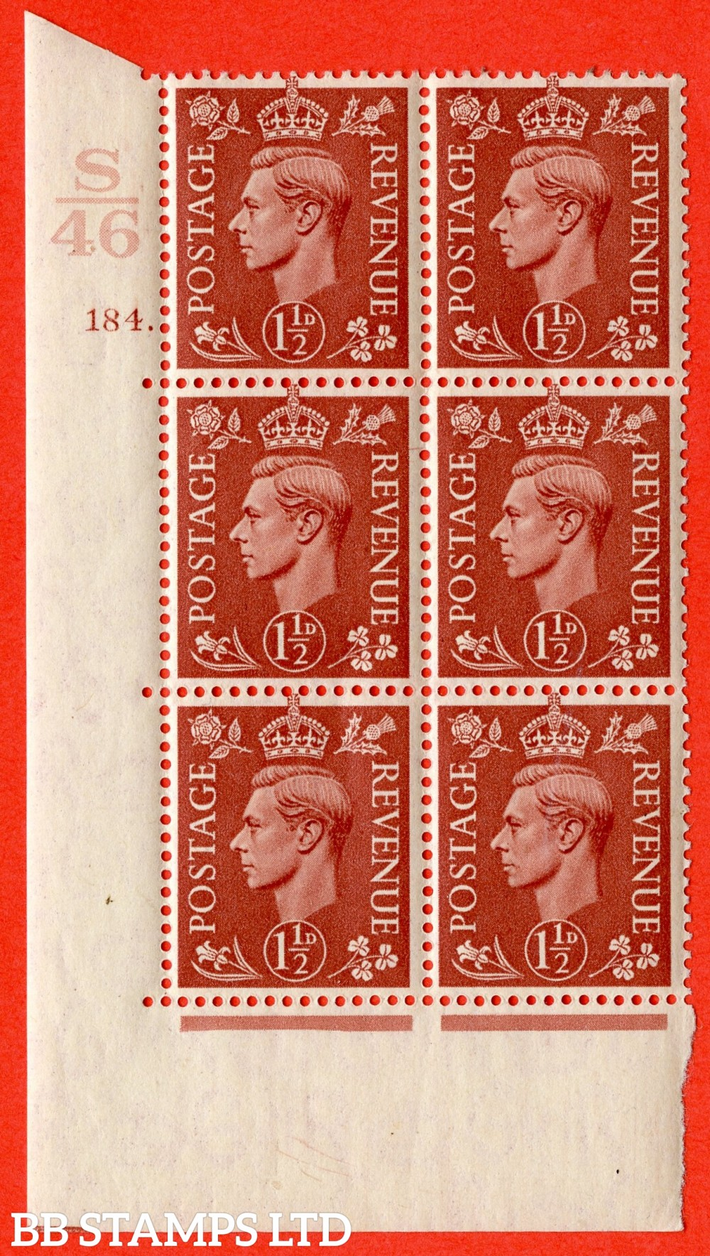 "SG. 487. Q8. 1½d Pale Red-Brown. A superb UNMOUNTED MINT "" Control S46 cylinder 184 dot "" control block of 6 with perf type 5 E/I. with marginal rule"