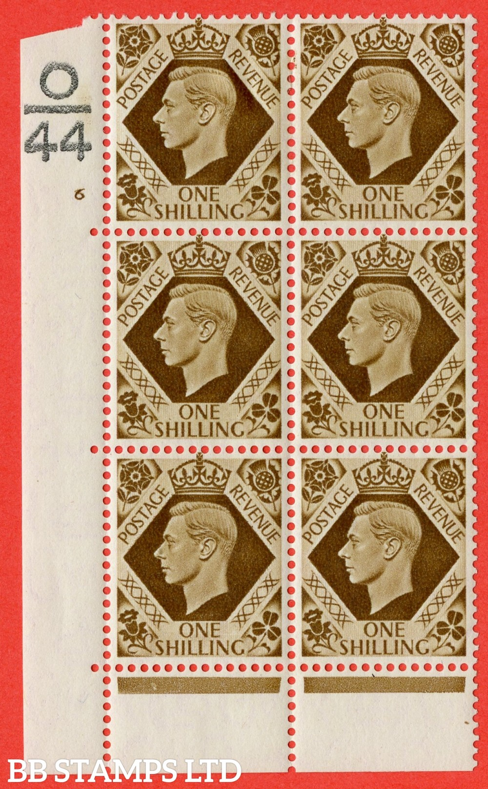 "SG. 475. Q28. 1/- Bistre-Brown. A fine lightly  mounted mint "" Control  O44 cylinder 6 no dot "" control block of 6 with perf type 6B E/P"