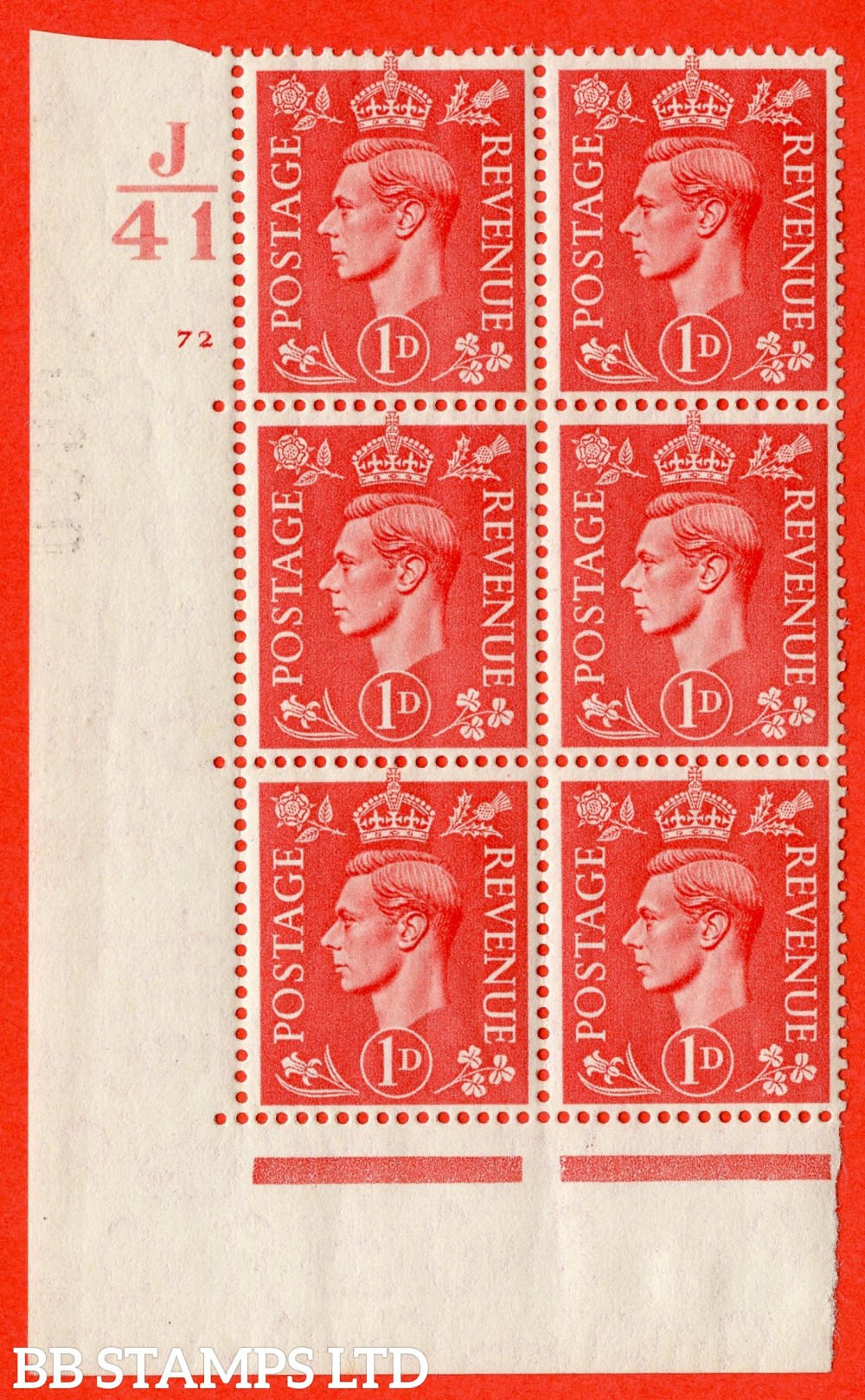 "SG. 486. Q5. 1d Pale scarlet. A fine lightly mounted mint "" Control J41  cylinder 72 no dot "" control block of 6 with perf type 5 E/I."