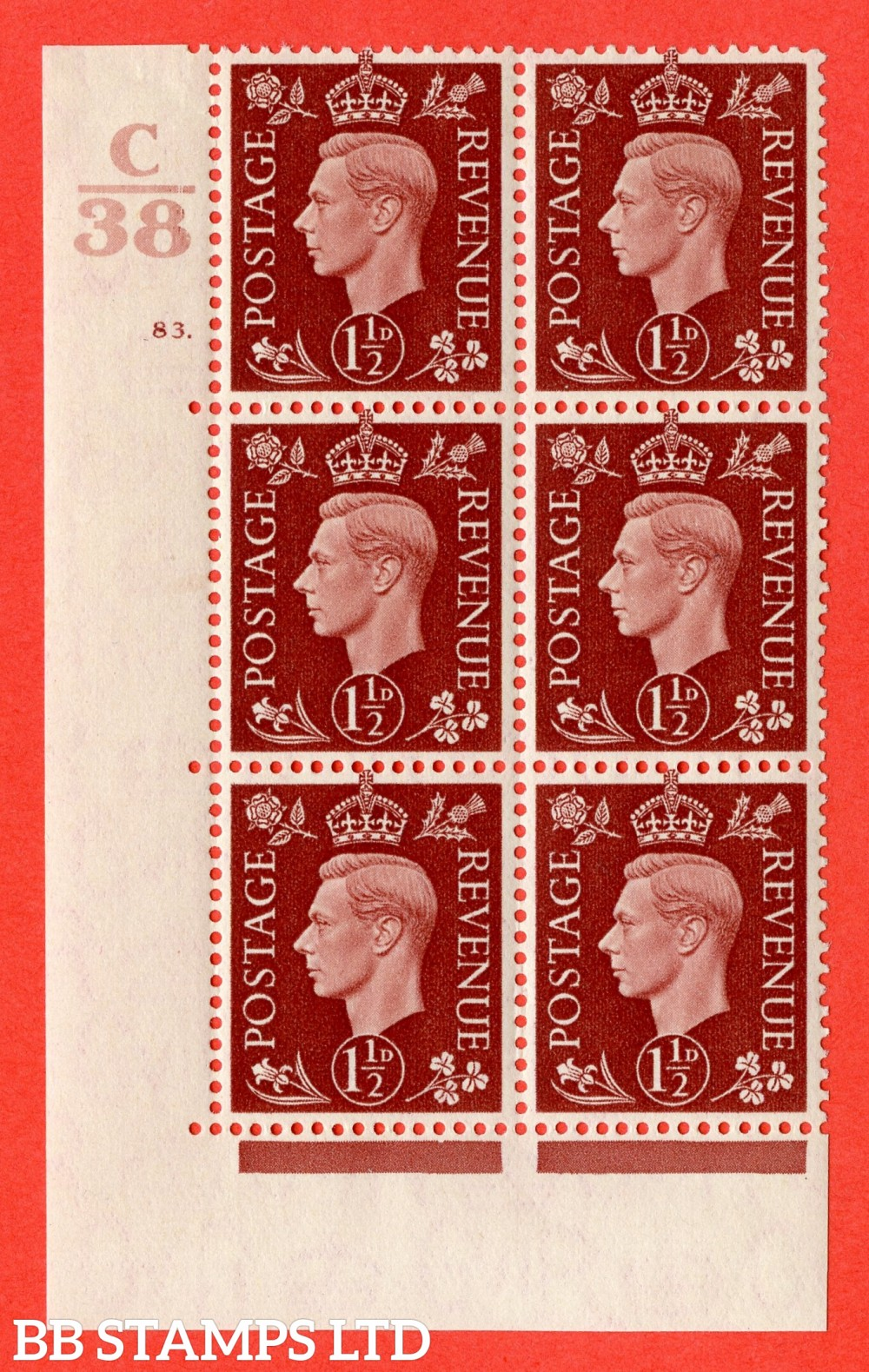 """SG. 464. Q7. 1½d Red-Brown. A fine lightly mounted mint """" Control C38 cylinder 83 dot """" block of 6 with perf type 5 E/I."""