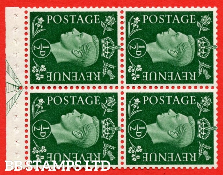 """SG. 462 ab. QB2a. ½d green. SIDEWAYS WATERMARK LEFT. A superb MOUNTED MINT complete booklet pane of Four. Perf type """" E """". Good Perfs."""