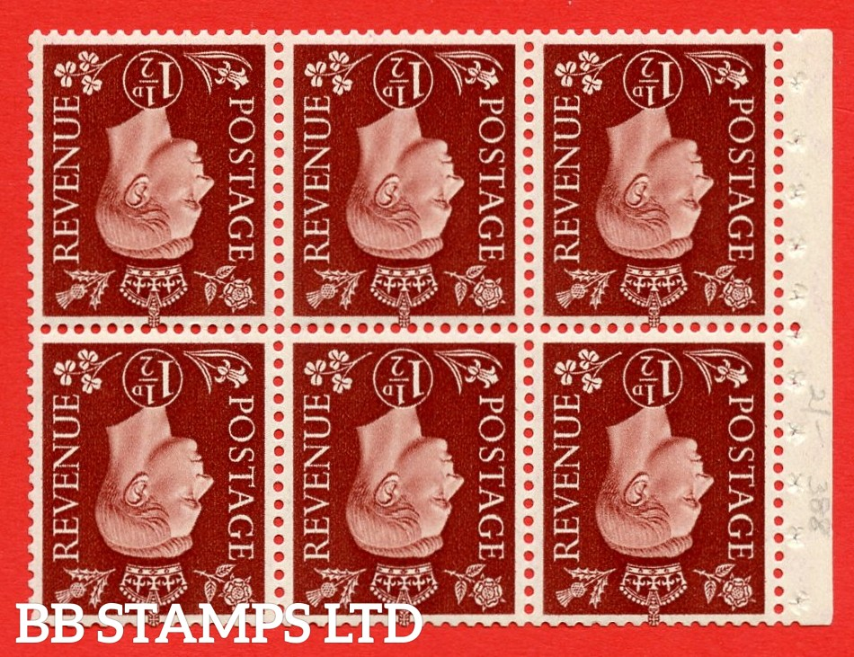 QB21a Perf Type E 1½d Red-Brown x 6 Pane, MOUNTED MINT Watermark Inverted. ( SG. 464cw ) Perf type E. Good Perfs.