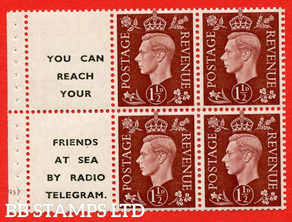 "QB23 Perf Type B3A(P) (12) 1½d Red-Brown x 6 Pane, UNMOUNTED MINT. Cylinder Pane G37 no do  ( SG. 464b ) Perf type B3A(P). "" You can reach your / friends at sea by Radio Telegram  "". Good Perfs."
