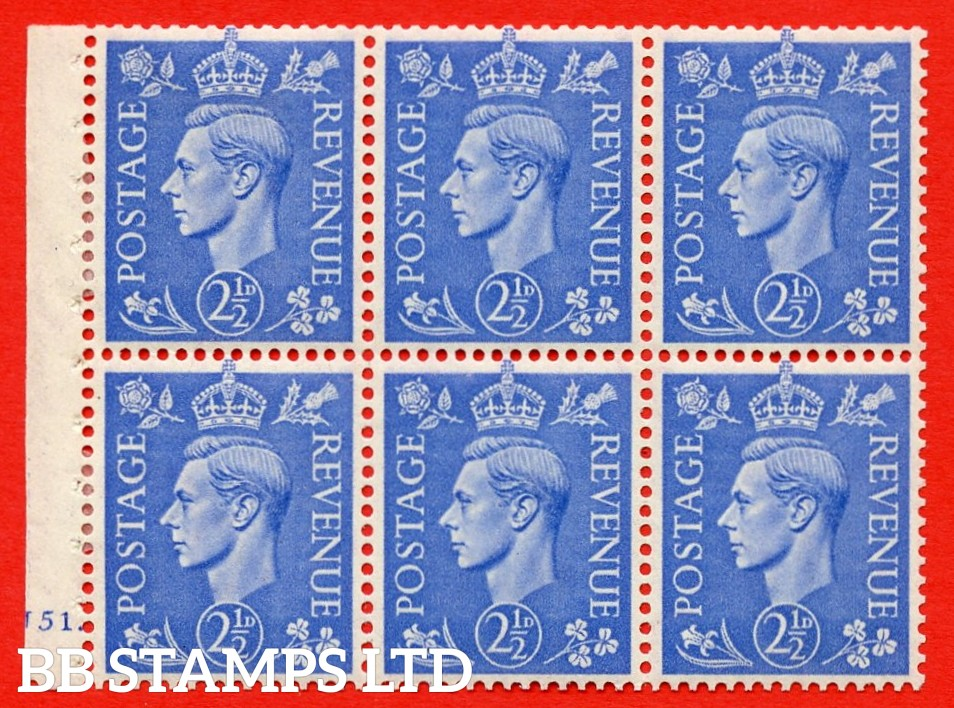 """SG. 489f. QB33. 2½d blue. A fine MOUNTED MINT complete Cylinder pane of 6 J51 dot. Perf type """"B6(IE)"""". Good Perfs."""