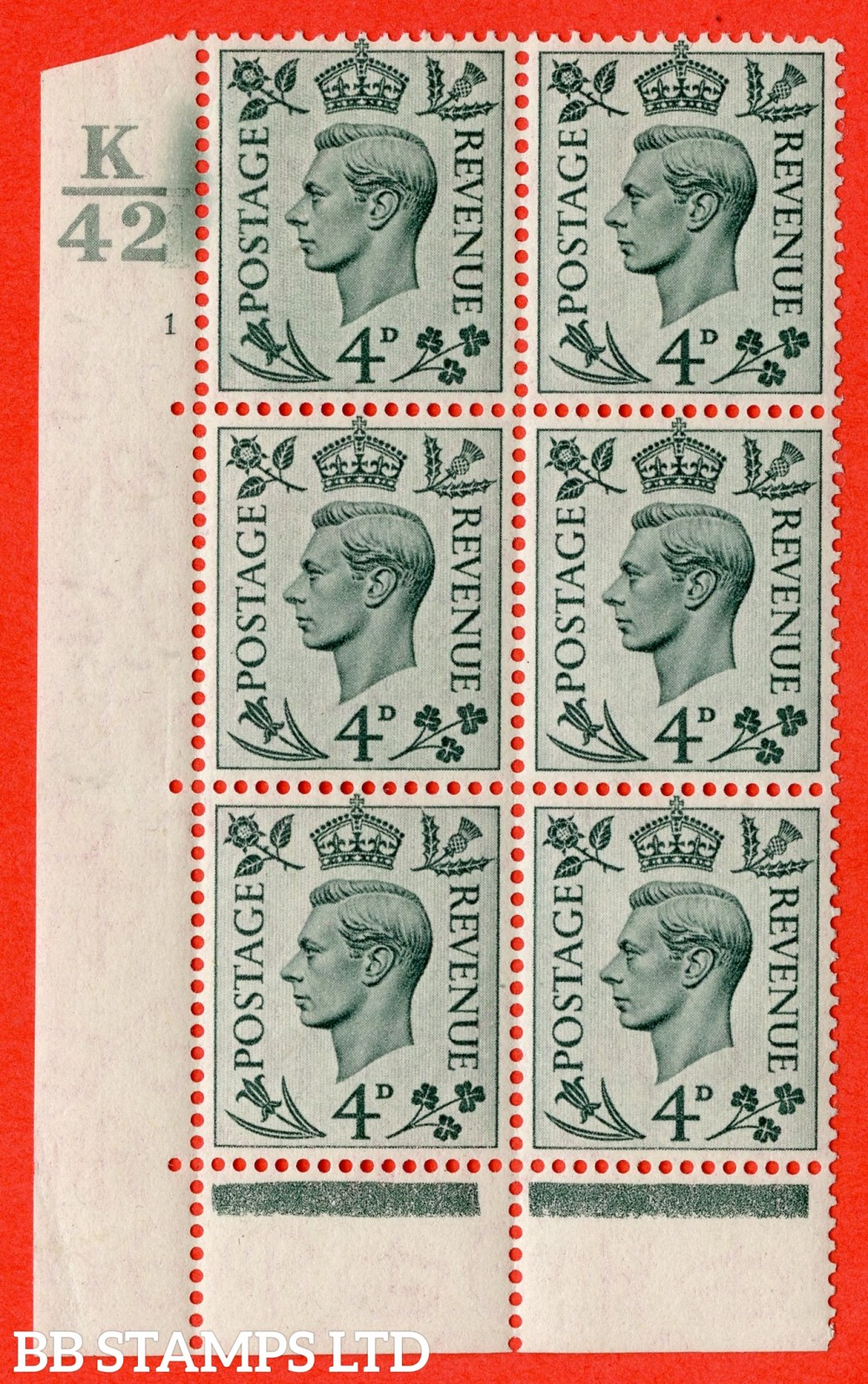 """SG. 468. Q19. 4d Grey-Green. A superb UNMOUNTED MINT. """" Control K42. Cylinder 1 no dot """" control block of 6 with perf type 6B E/P."""