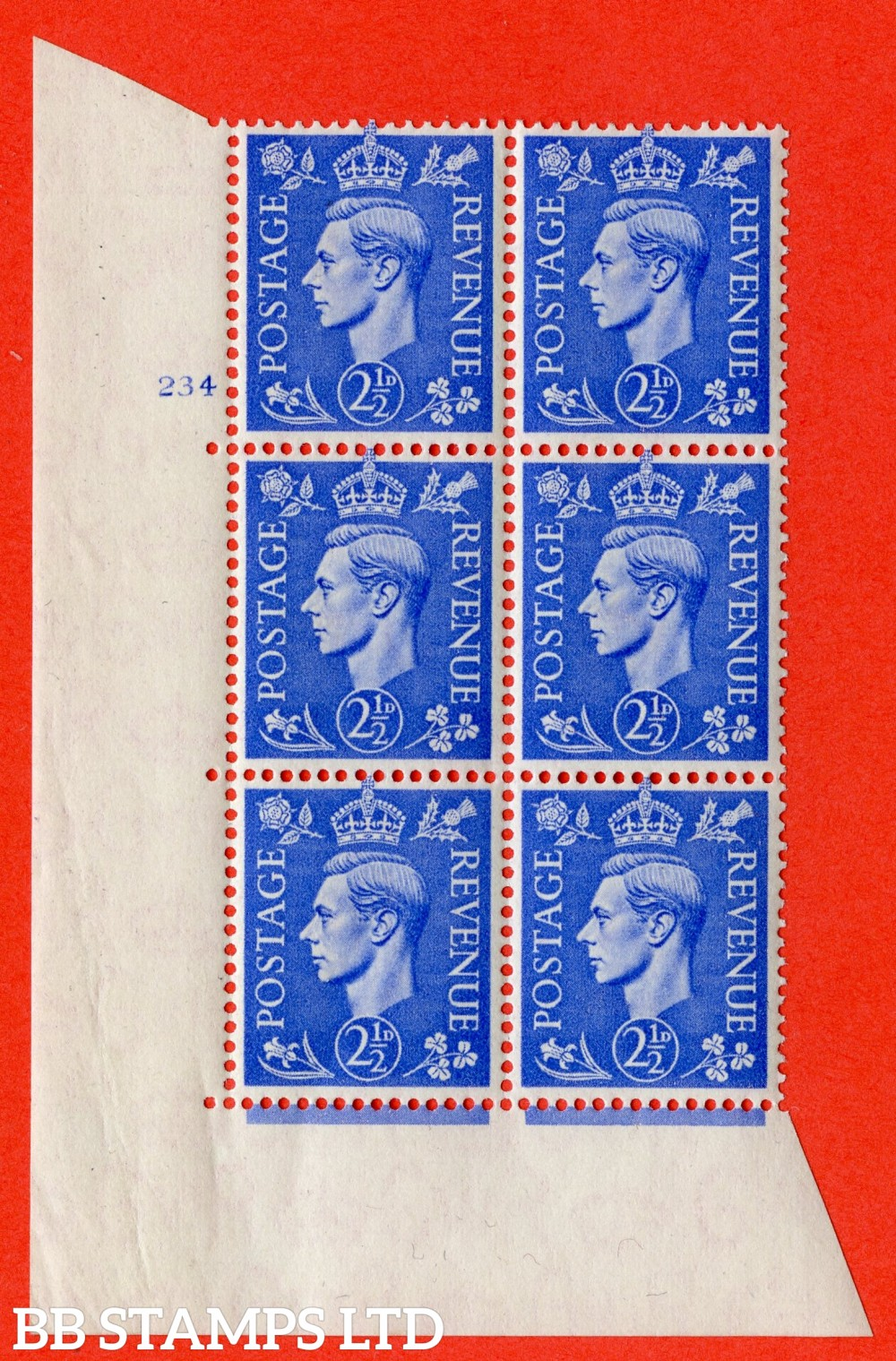 "SG. 489. Q14. 2½d Light ultramarine. A superb UNMOUNTED MINT "" No Control cylinder 234 no dot "" control block of 6 with perf type 5 E/I"