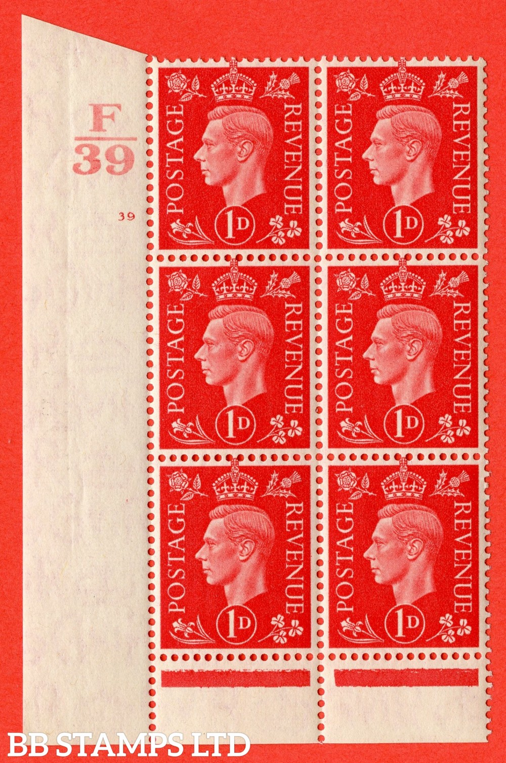 "SG. 463. Q4. 1d Scarlet. A superb UNMOUNTED MINT "" Control F39 cylinder 39 no dot "" block of 6 with perf type 6 I/P with marginal rule."