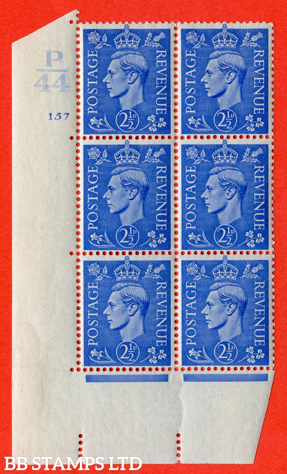 "SG. 489. Q14. 2½d Light ultramarine. A fine lightly mounted mint "" Control P44 cylinder 157 no dot "" control block of 6 with perf type 5 E/I."