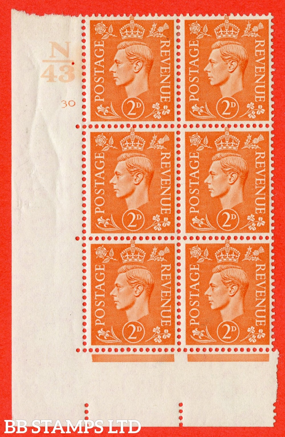 "SG. 488. Q11. 2d Pale Orange. A fine lightly mounted mint "" Control N43 cylinder 30 no dot "" control block of 6 with perf type 5 E/I."