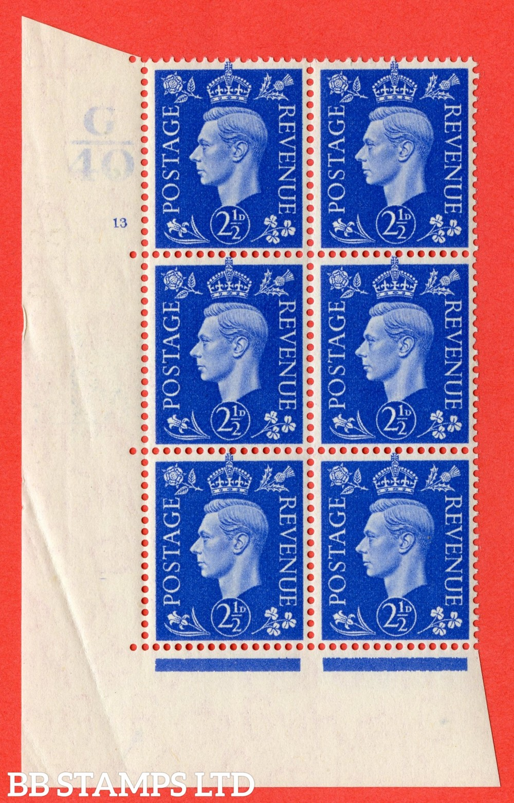 """SG. 466. d. Q13. 2½d Ultramarine.  A fine lightly mounted mint """" Control G40 cylinder 13 (i) no dot """" control block of 6 with perf type 5 E/I."""