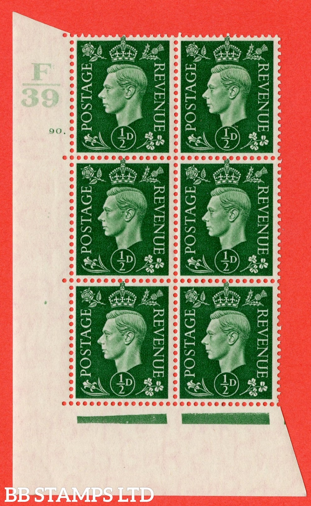 "SG. 462. Q1. ½d Green. A superb UNMOUNTED MINT "" Control E39 cylinder 90 dot "" block of 6 with perf type 5 E/I with marginal rule."