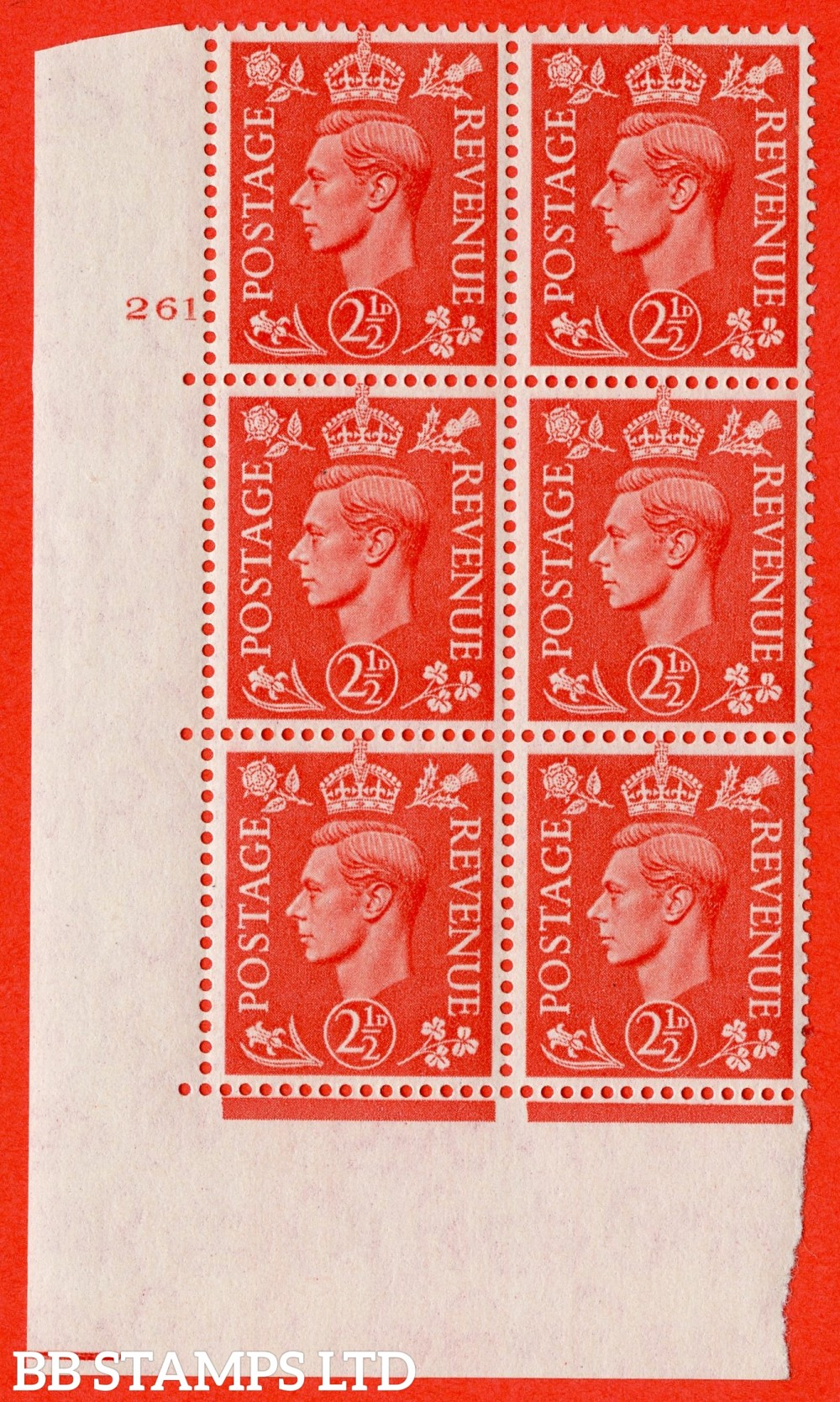 "SG. 507. Q15. 2½d Pale Scarlet. A superb UNMOUNTED MINT "" No Control cylinder 261 no dot "" control block of 6 with perf type 5 E/I."