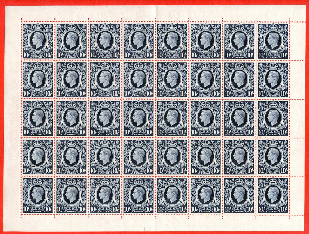 "SG. 478. Q32d. 10/- Dark blue. A superb UNMOUNTED MINT complete sheet of 40 containing the listed "" Dot on Scroll ( row 2/5 ) "" variety. A very scarce sheet these days."