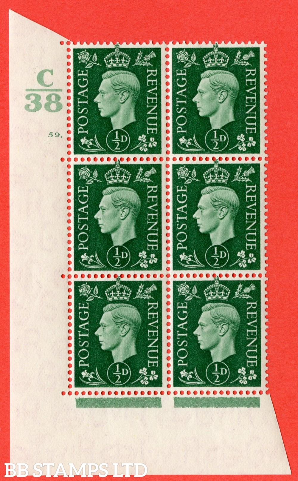 "SG. 462. Q1. ½d Green. A superb UNMOUNTED MINT "" Control C38 cylinder 59 dot "" block of 6 with perf type 5 E/I."