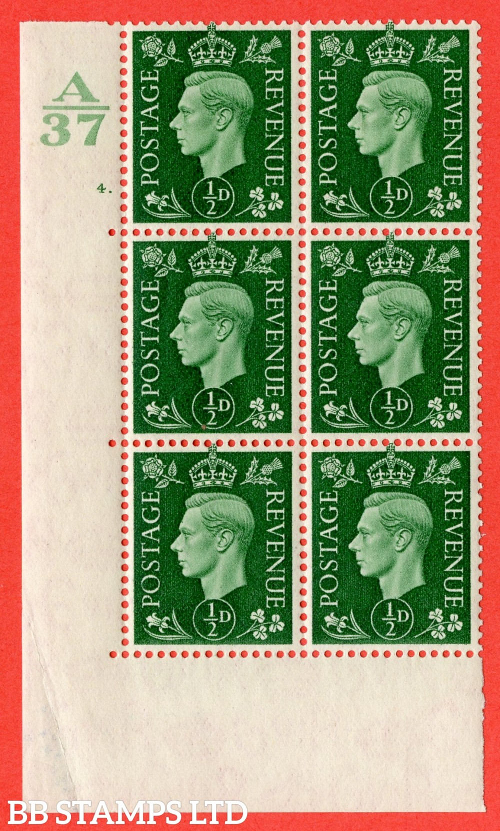 "SG. 462. Q1. ½d Green. A superb UNMOUNTED MINT "" Control A37 cylinder 4 dot "" block of 6 with perf type 5 E/I  without marginal rule."
