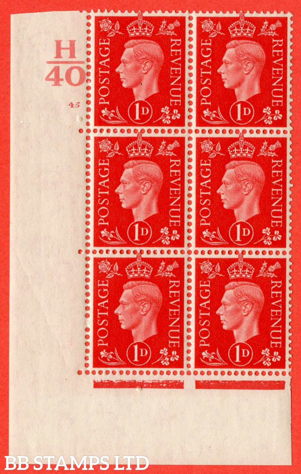 "SG. 463. Q4. 1d Scarlet. A superb UNMOUNTED MINT "" Control H40 cylinder 45 no dot "" block of 6 with perf type 5 E/I."