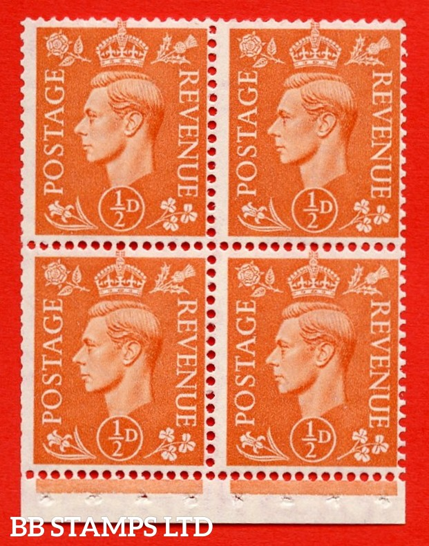 """SG. 503e. QB8a. ½d orange. A fine UNMOUNTED MINT complete booklet pane of 4. Perf type """" I """". Trimmed Perfs."""
