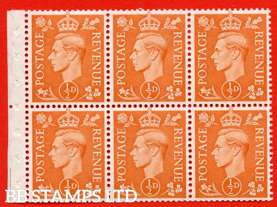 "SG. 503d. QB7. ½d orange. A fine MOUNTED MINT complete booklet pane of 6. Perf type "" Iem "". Good Perfs."