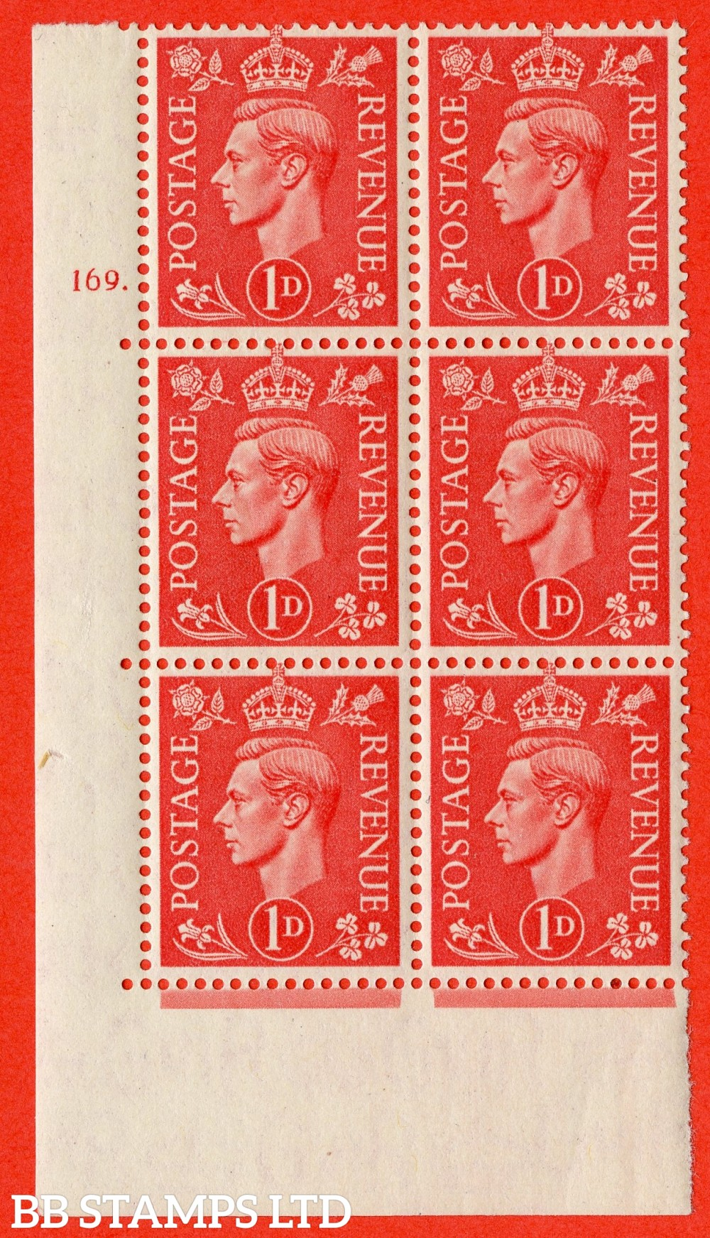 "SG. 486. Q5. 1d Pale scarlet. A superb UNMOUNTED MINT "" No Control   cylinder 169 dot "" control block of 6 with perf type 5 E/I."