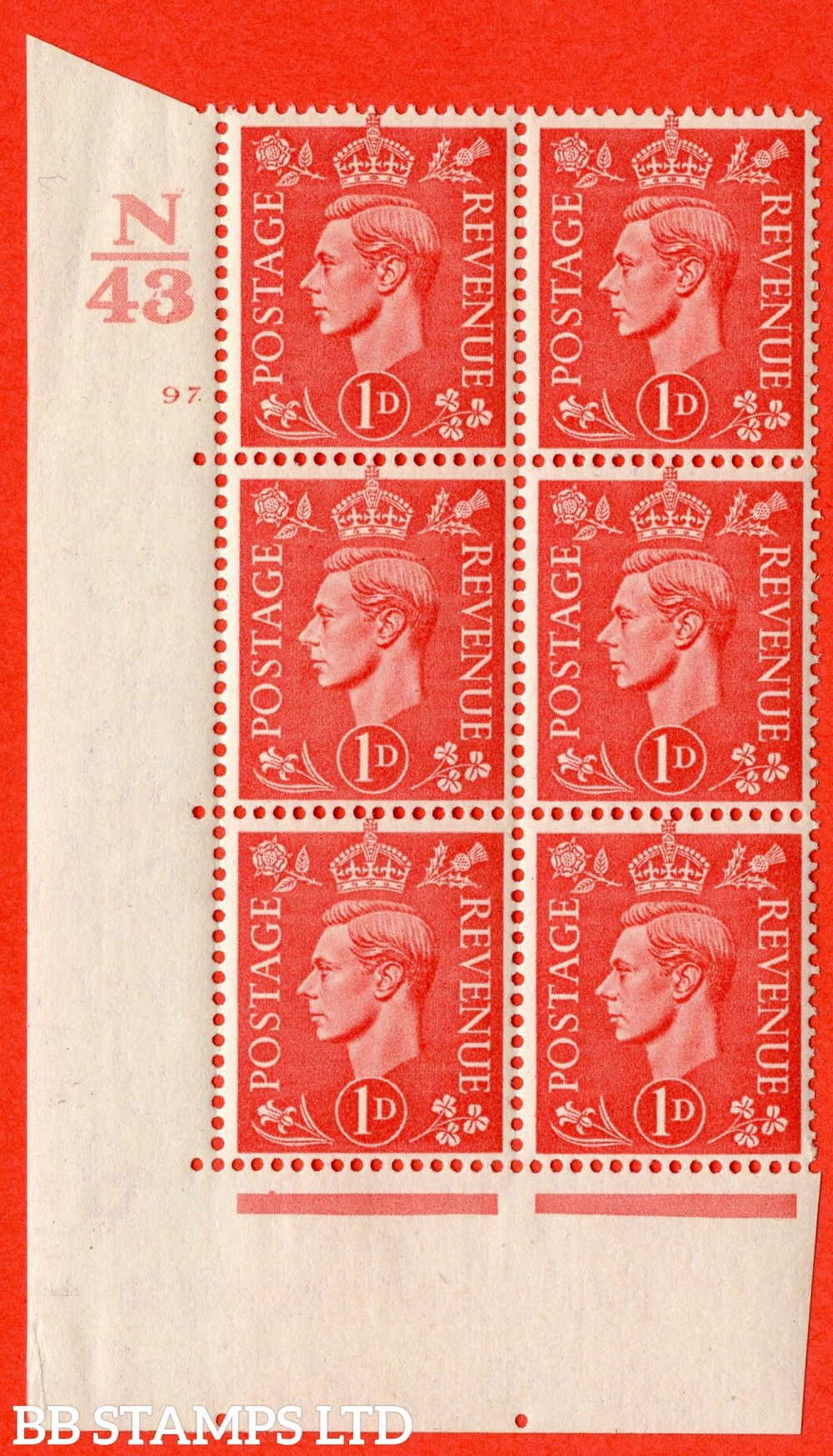 "SG. 486. Q5. 1d Pale scarlet. A fine lightly mounted mint "" Control N43  cylinder 97 no dot "" control block of 6 with perf type 5 E/I."