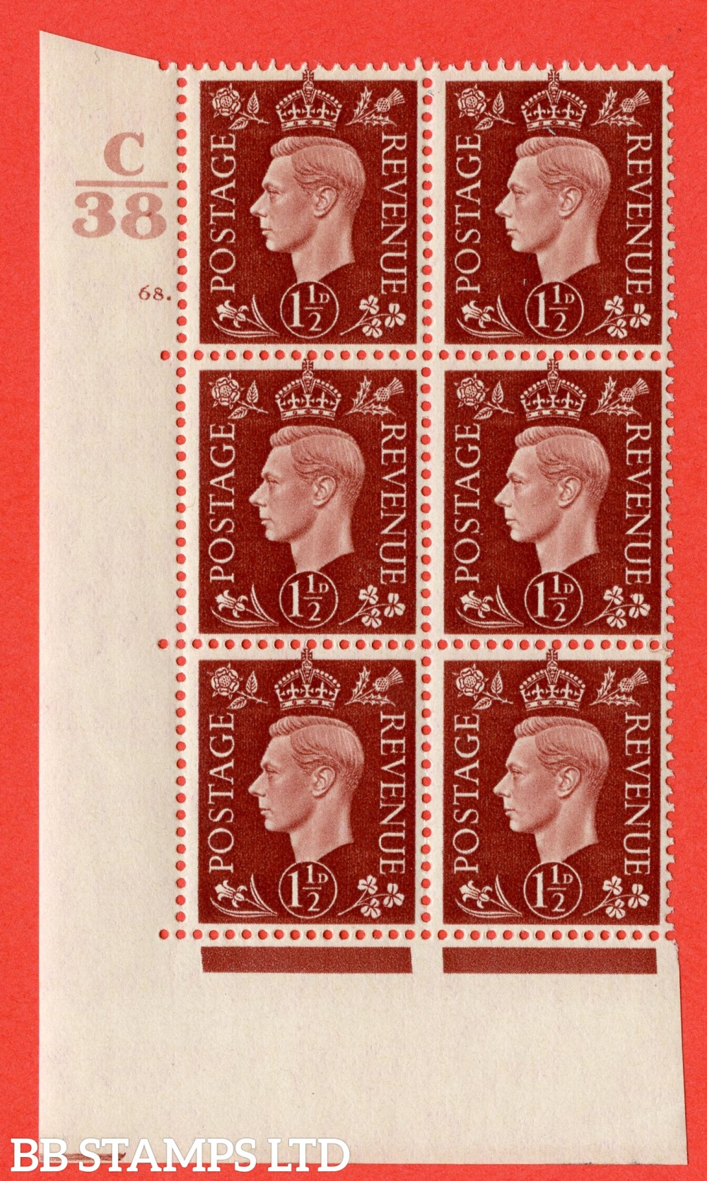 "SG. 464. Q7. 1½d Red-Brown. A superb UNMOUNTED MINT "" Control C38 cylinder 68 dot "" block of 6 with perf type 5 E/I."