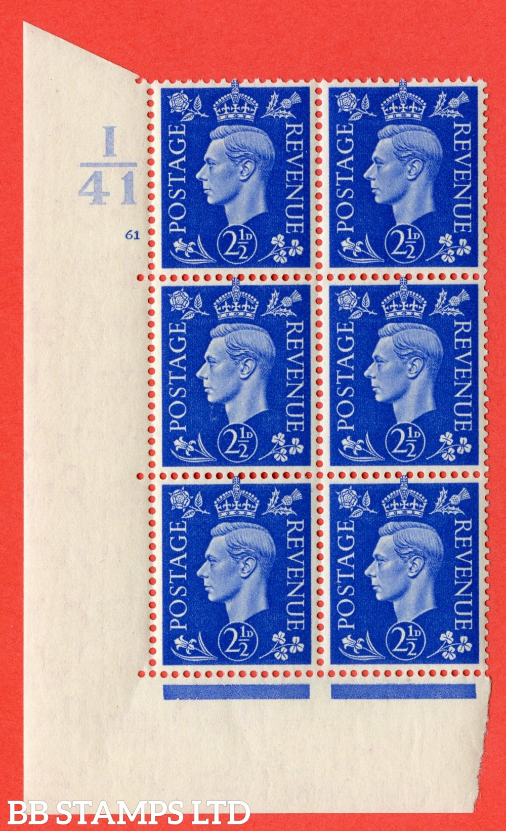 "SG. 466. Q13. 2½d Ultramarine. A superb UNMOUNTED MINT "" Control I41 cylinder 61 no dot "" control block of 6 with perf type 5 E/I."