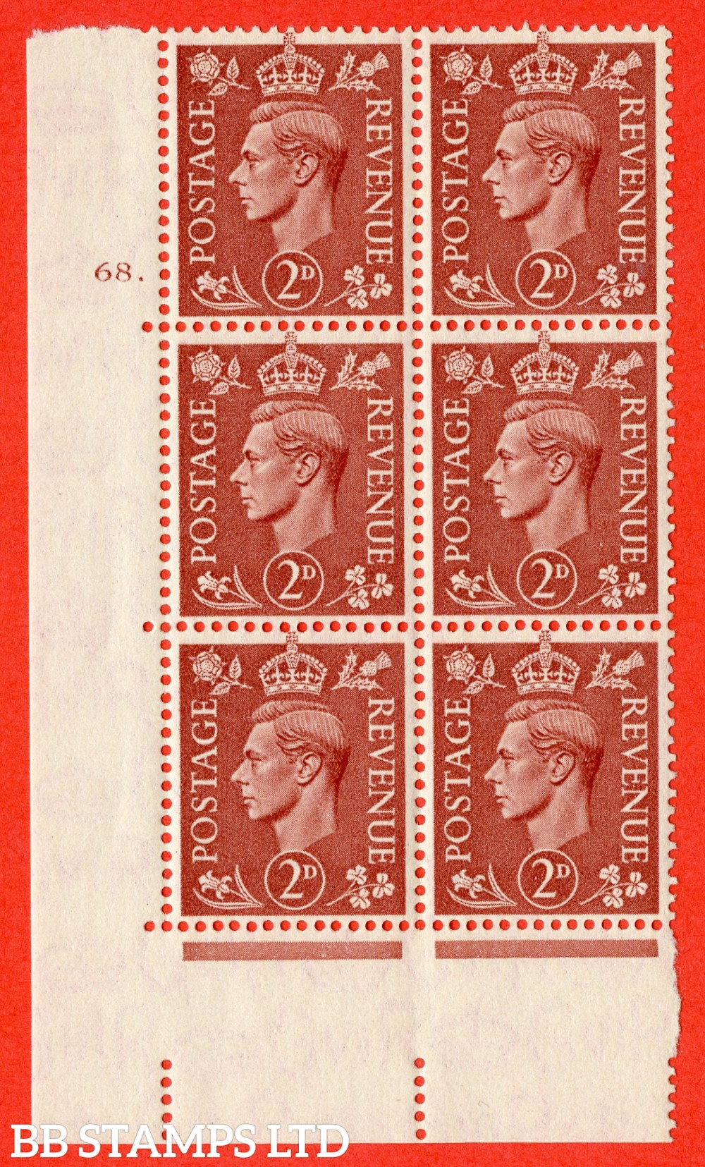 "SG. 506. Q12. 2d Pale Red-Brown. A superb UNMOUNTED MINT "" No Control cylinder 68 dot "" control block of 6 with perf type 5 E/I."
