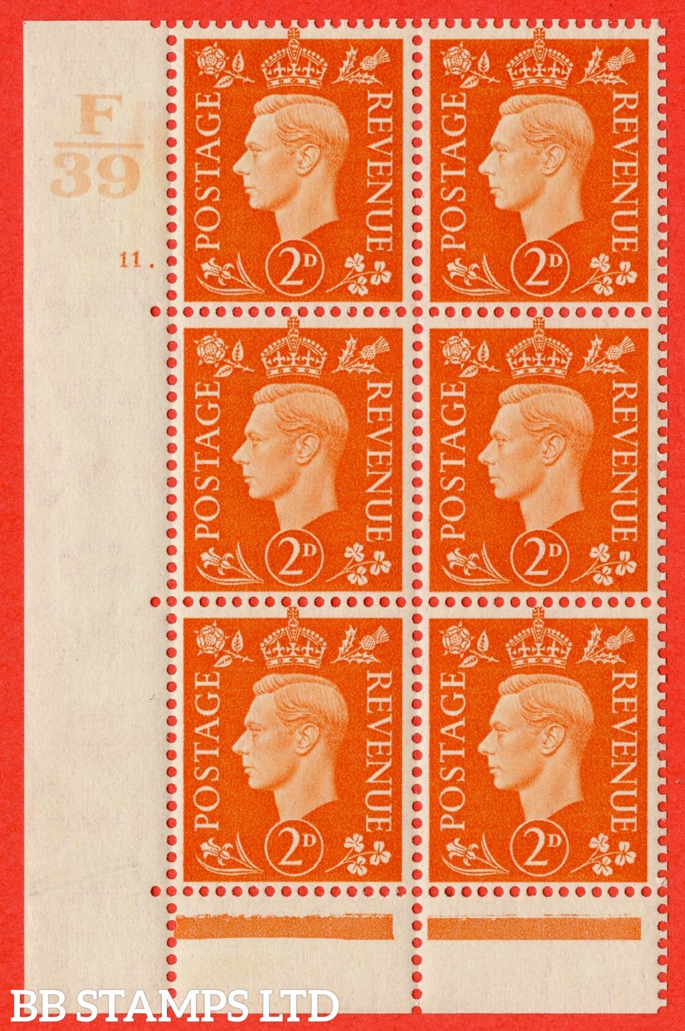 "SG. 465. Q10. 2d Orange. A fine lightly mounted mint "" Control F39 cylinder 11 dot "" control block of 6 with perf type 6B E/P."