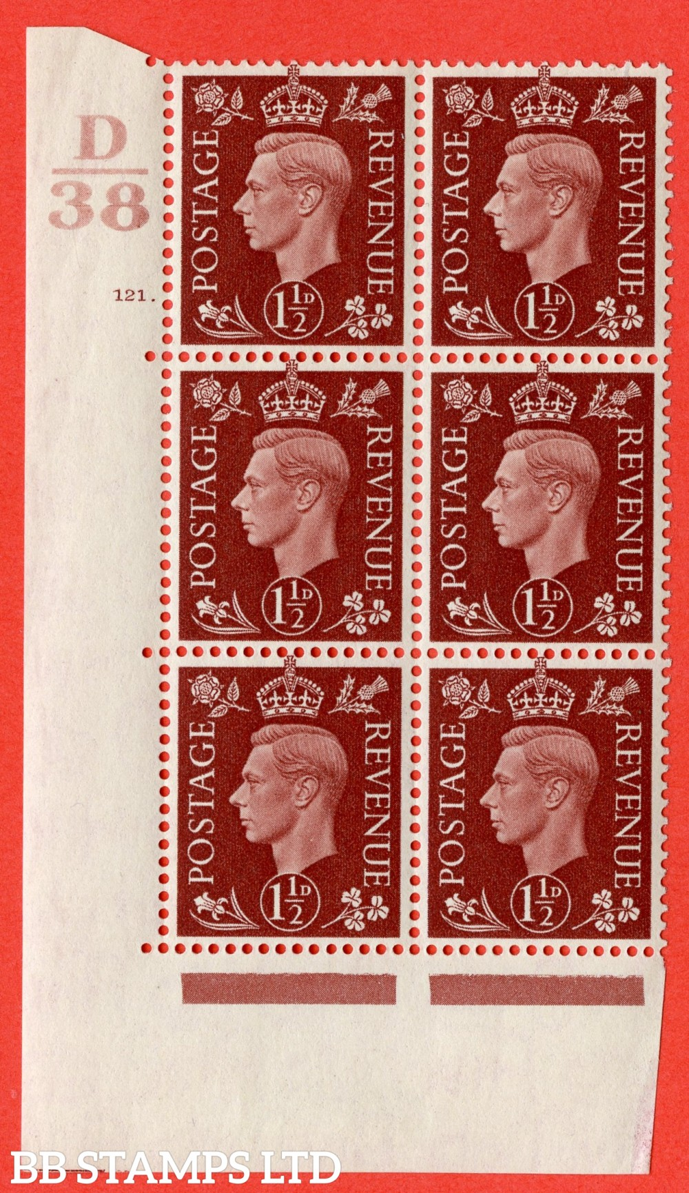 """SG. 464. Q7. 1½d Red-Brown. A fine lightly mounted mint """" Control D38 cylinder 121 dot """" block of 6 with perf type 5 E/I."""