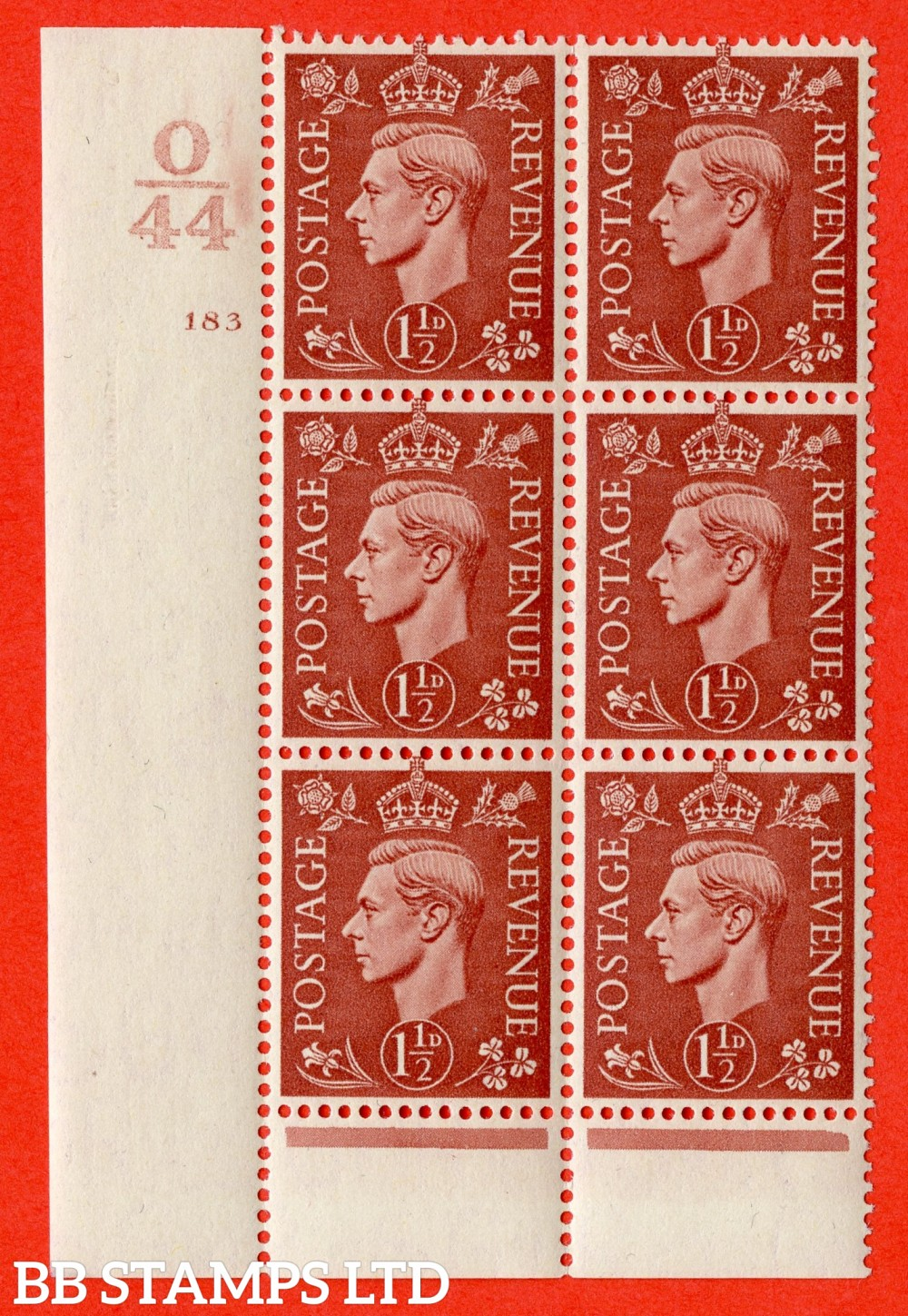 "SG. 487. Q8. 1½d Pale Red-Brown. A superb UNMOUNTED MINT "" Control O44 cylinder 183 no dot "" control block of 6 with perf type 6 I/P."