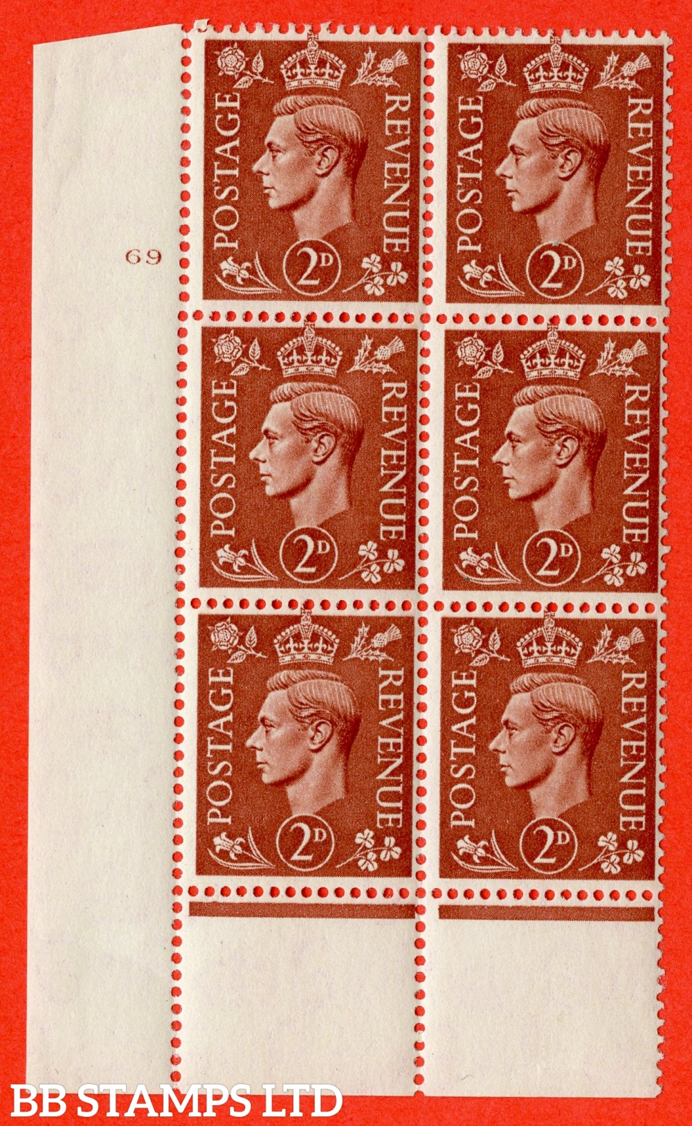 "SG. 506. Q12. 2d Pale Red-Brown. A fine lightly mounted mint "" No Control cylinder 69 no dot "" control block of 6 with perf type 6 I/P."