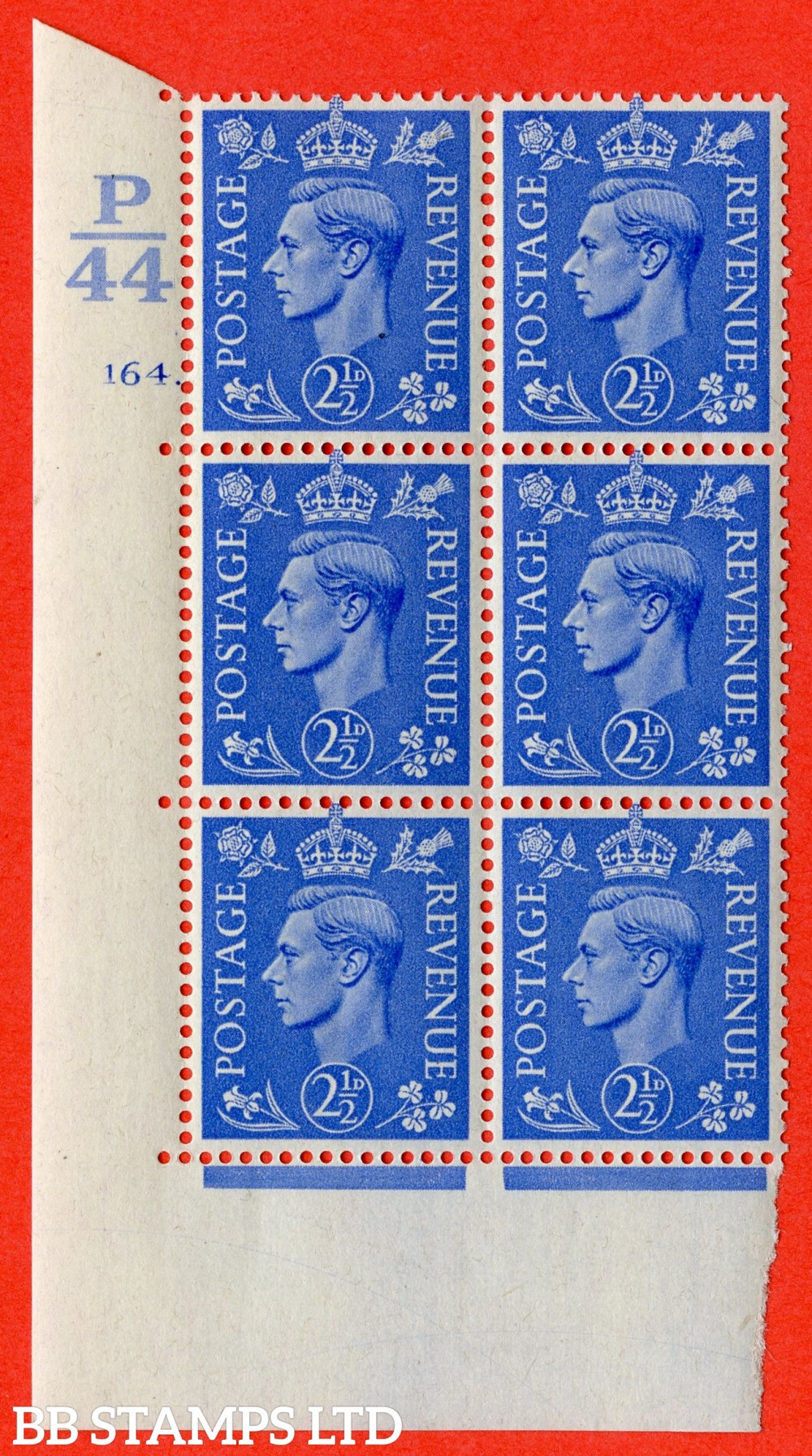 "SG. 489. Q14. 2½d Light ultramarine. A suberb UNMOUNTED MINT "" Control  P44 cylinder 164 dot "" control block of 6 with perf type 5 E/I."