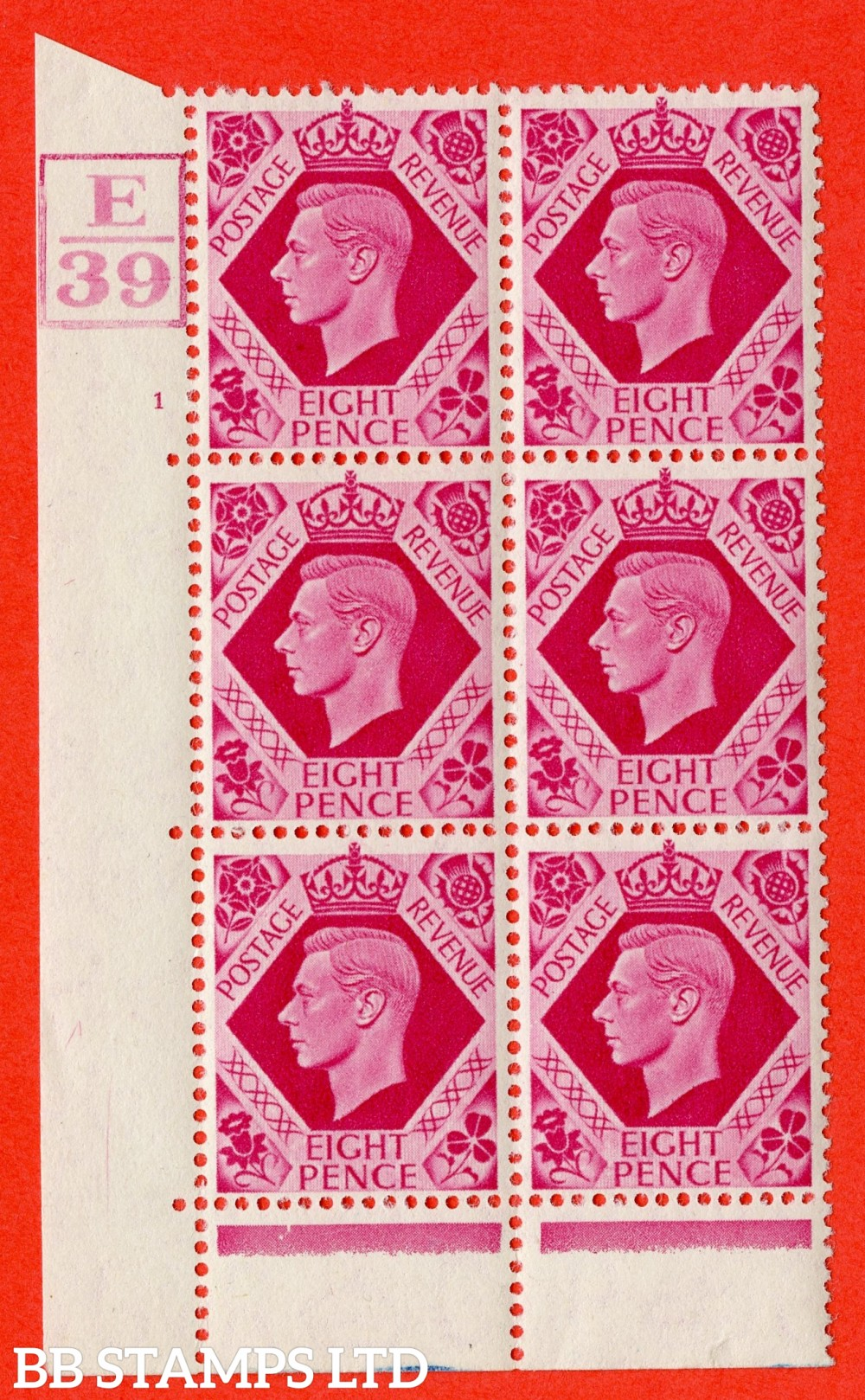 "SG. 472. Q24. 8d Carmine. A fine lightly mounted mint "" Control E39 Box. Cylinder 1 no dot "" control block of 6 with perf type 6B E/P"
